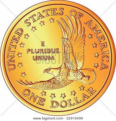 Vector American Money, Gold Dollar Coin With The Image Of A Flying Eagle