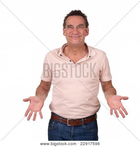 Attractive Smiling Man with Cheesy Grin Holding Hands Forward