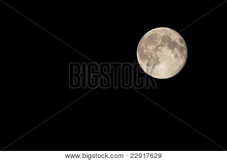 Full Moon on Night Sky Waning by One Day