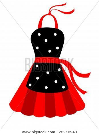 black and red apron