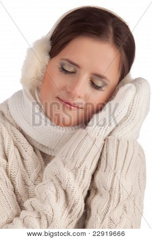 Beautiful Girl In Winter Mitten