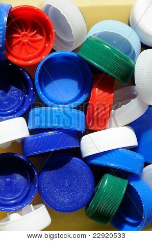 Plastic bottle caps background