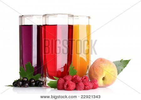 fresh summer berries and juice isolated on white
