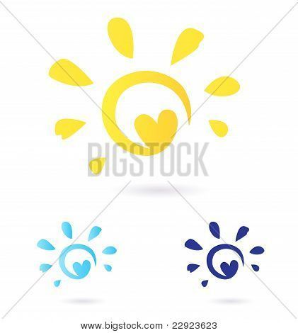 Abstract Vector Sun Icon With Heart -  Yellow & Blue, Isolated On White.