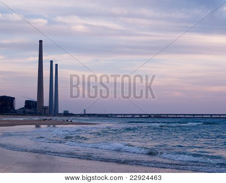 Electricity Power Plant By The Sea