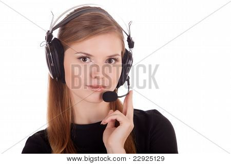 Operator Call Center In Headphones