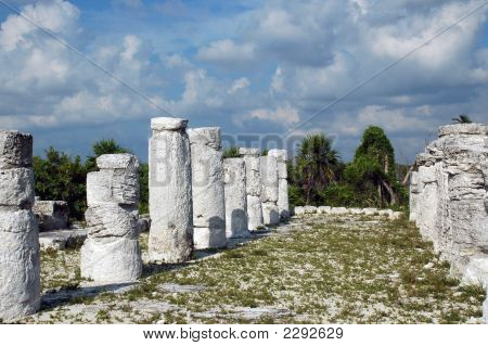 Deteriorated Columns In Mayan Beach Ruins
