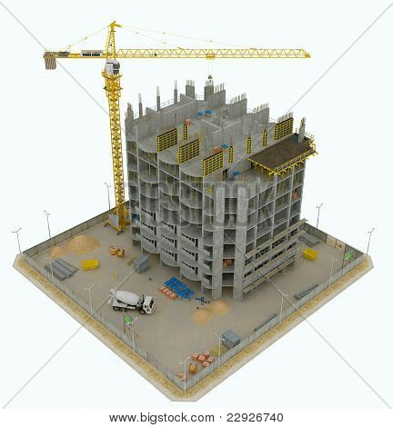 Worksite: Top Side View Of Unfinished Building And Crane