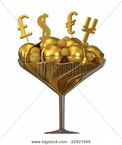Currency Symbols And Golden Ice Cream In Glass Bowl