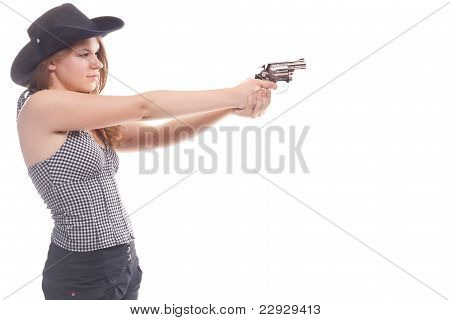 Portrait Of A Beautiful Girl With A Gun