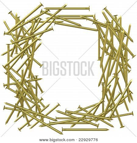 Frame made of gold nails