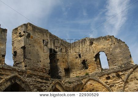 Old and ruined castle walls
