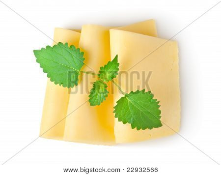 Cheese and mint isolated
