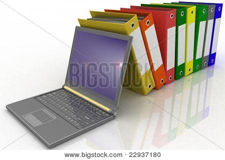 Carpetas colores al lado de un portátil moderno
