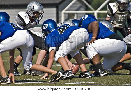 Little League Football, Close Up Line Of Scrimmage