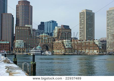 Historic Rowes Wharf With Ships In South Boston Massachusetts