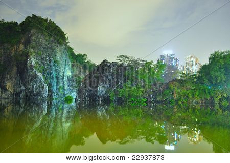 Little Guilin with greenery by night