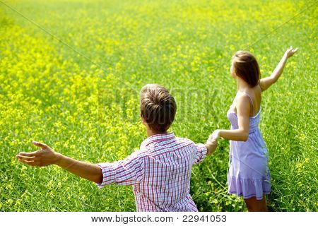 Portrait of happy young Couple holding hände in Blume-Feld