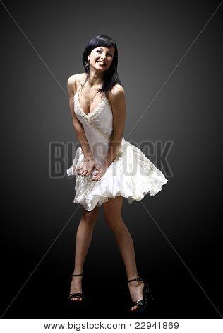 beautiful woman portrait wearing white dress