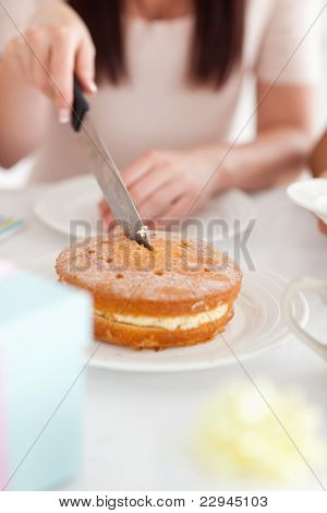 Charming Woman Sitting At A Table Cutting A Cake