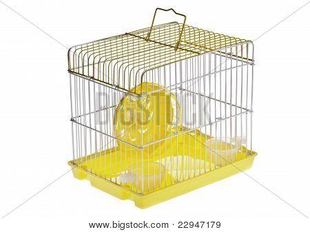 Jaula del hámster amarillo pequeño