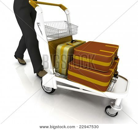 man rolls light cart with luggage