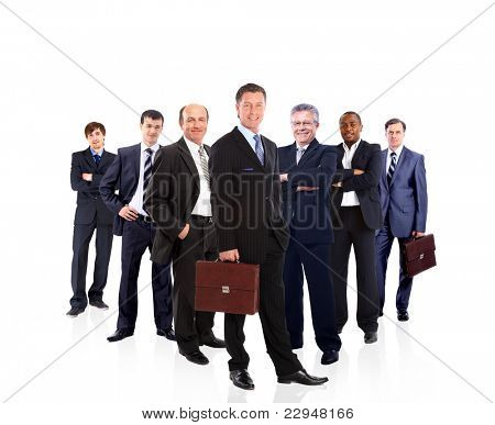 business team formed by young and old people