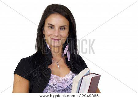 Smiling Student Holding Books