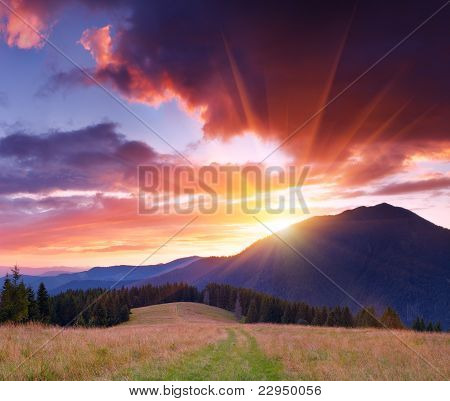 Dawn in mountains