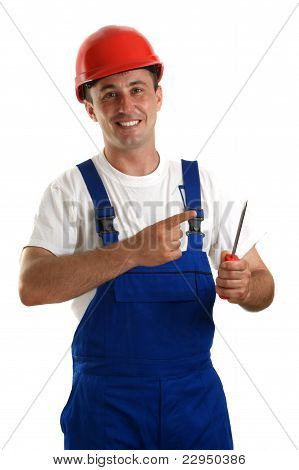 Craftsmen With Helmet Is Holding A Screwdriver In His Hand