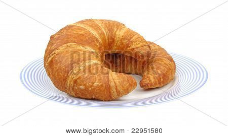 Croissants On Blue Plate