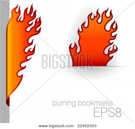 Burning bookmarks. Vector.