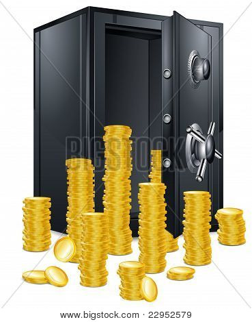 Bank Safe And Coins