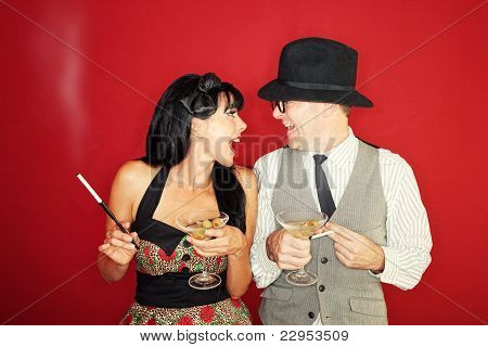 Excited Couple Enjoy A Drink