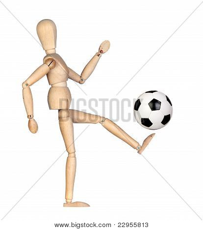 Wooden Mannequin With A Soccer Ball