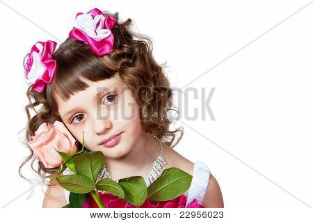 The Girl In A Beautiful Dress With Rose