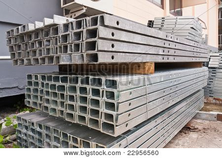 Metal Girder In Group Tilted Out