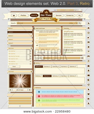 Web Design Set Retro 3