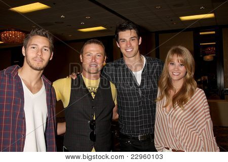 LOS ANGELES - AUG 27:  Scott Clifton, Jacob Young, Adam Gregory, Kim Matula attending the Bold & The Beautiful Fan Event 2011 at the Universal Sheraton Hotel on August 27, 2011 in Los Angeles, CA