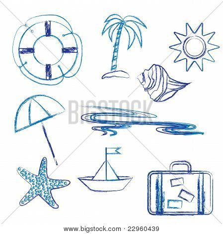 Seaside Holiday Symbols