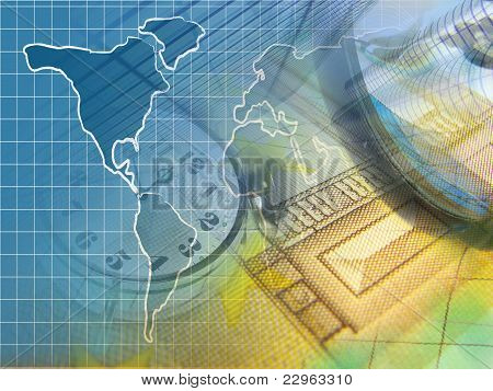 Clock, Illustration of Map And Money