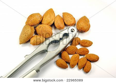 whole and cracked almonds with nutcracker