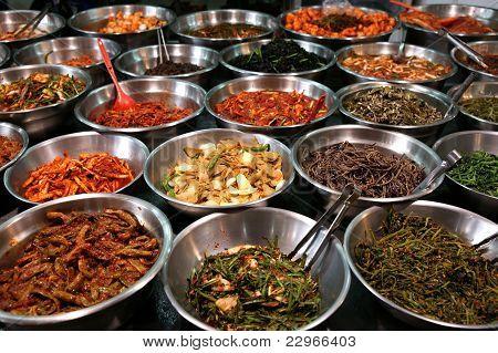 Bowls Of Kimchi On A Korean Traditonal Food Market