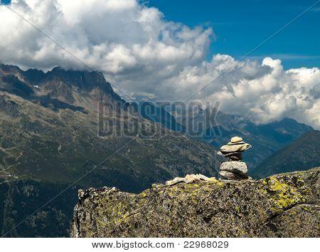 Inukshuk Sitting At The Mont-blanc