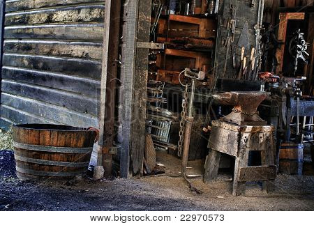 Blacksmith `s Tools In Shop