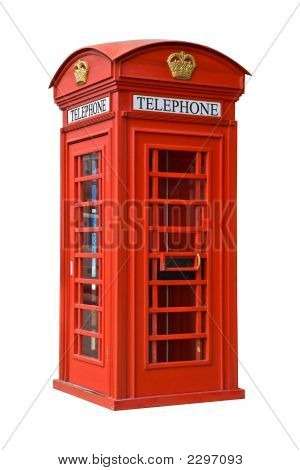 British Red Phone Booth - Isolated