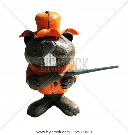 Wooden Beaver Hunter with White Background