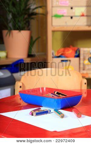 Desk in kindergarten