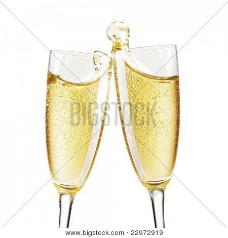 Two Champagne Glasses with abstract splash
