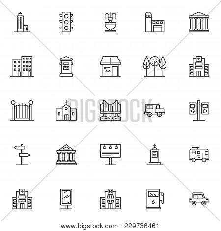 City Buildings Outline Icons Set